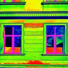 52905402 - thermography measurement  scan. traditional construction of bricks house with old style windows. thermal waste map. just effect.